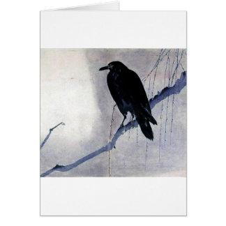 Black Raven Bird Card