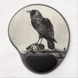 Black Raven Bird Sitting Upon Shrunken Skulls Gel Mouse Pad