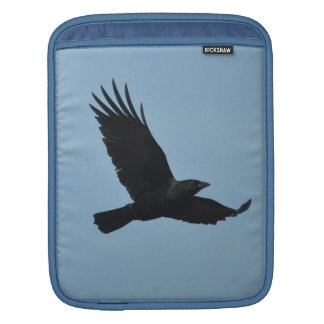 Black Raven Flying in Blue Sky Photo iPad Sleeve
