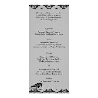 Black Raven Gothic Frame Wedding Menu Rack Card Design