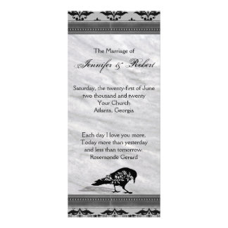Black Raven Gothic Frame Wedding Program Rack Card