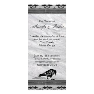 Black Raven Gothic Frame Wedding Program Full Colour Rack Card