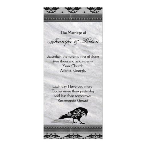 Black Raven Gothic Frame Wedding Program Custom Rack Cards