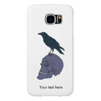 Black Raven On A Grey Human Skull Samsung Galaxy S6 Cases