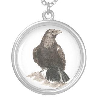 Black Raven, Original Watercolor Bird Silver Plated Necklace