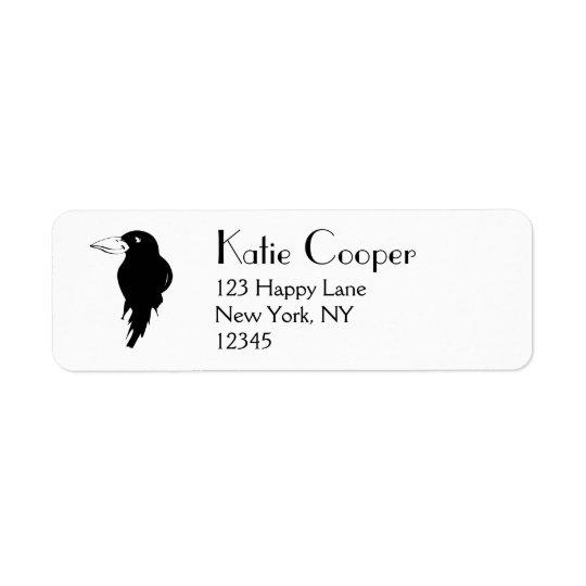 Black Raven Return Address Label