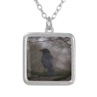 Black Raven Silver Plated Necklace