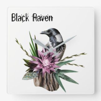 Black Raven Square Wall Clock