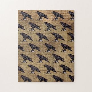 Black Raven Tan Pattern  Halloween Jigsaw Puzze Jigsaw Puzzle