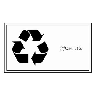 Black Recycling Symbol Pack Of Standard Business Cards