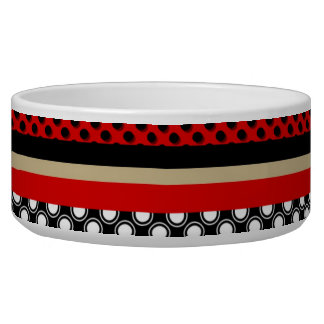 Black red and gold stripes and dots pet bowl
