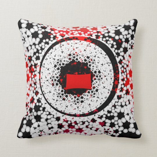 Black Red and white circle Throw Pillow Zazzle
