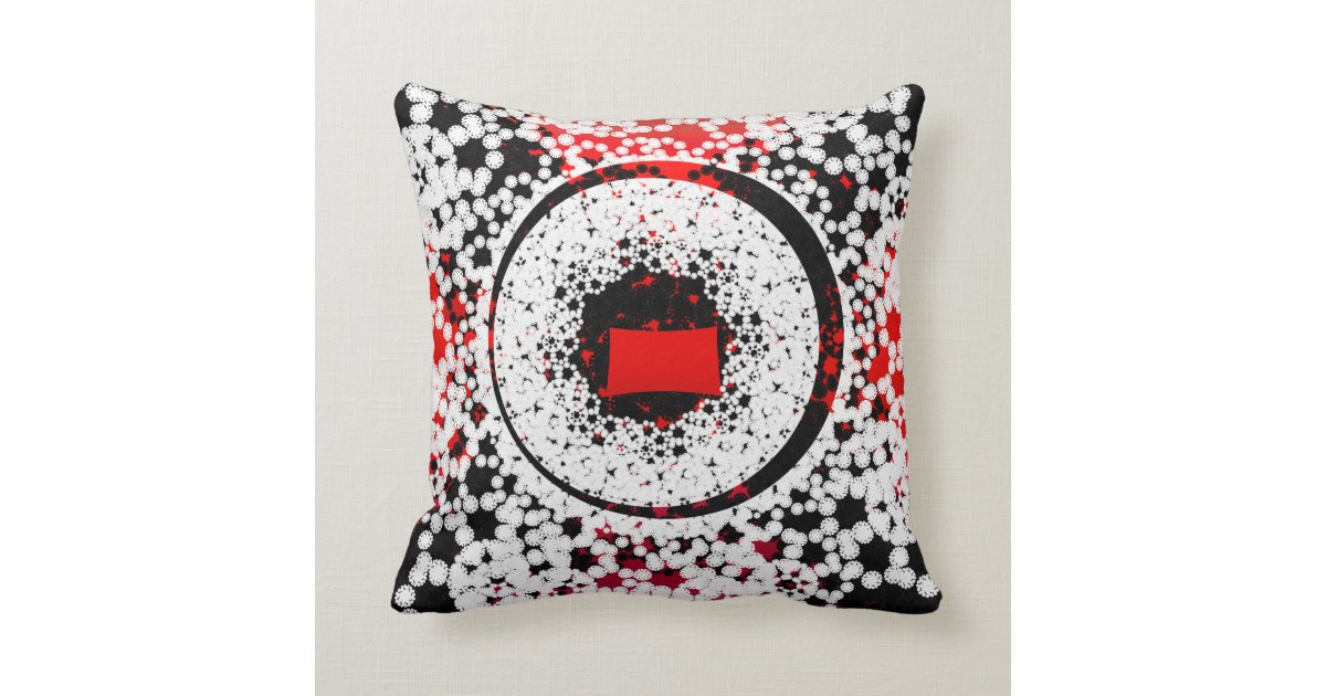 Red Black White Decorative Pillows : Black Red and white circle Throw Pillow Zazzle