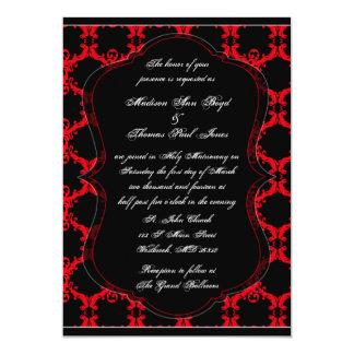 Black, Red, and White Damask Wedding Invitation