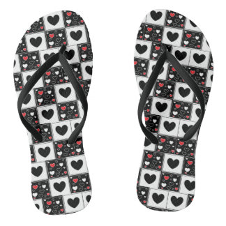 Black Red and White Hearts Sandals