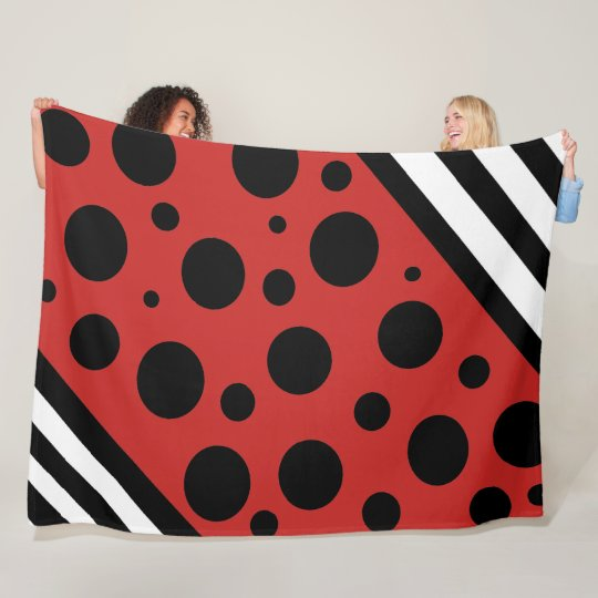 Black Red and White Polka Dots and Stripes Blanket