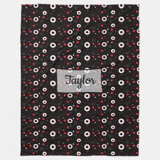 Black Red and White Polka Dots Fleece Blanket
