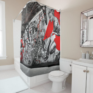 Black, Red and White Street Art Graffiti Curtain Shower Curtain