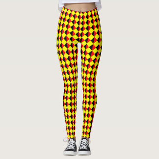 Black Red And Yellow Diamond Pattern Leggings
