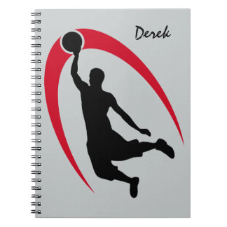 Black Red Basketball Personalized Notebook