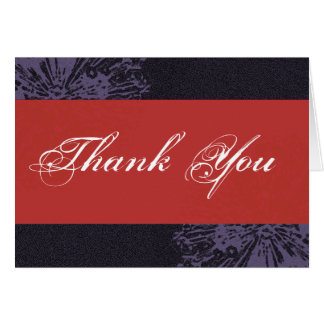 Black & Red Blossom Thank You Greeting Card