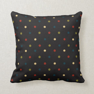 Black, Red, Blue, Gold and Olive Polka Dots Cushion