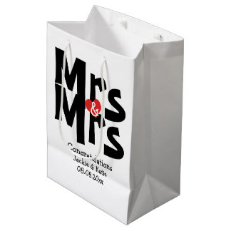 Black Red Bold Modern Personalized Mrs and Mrs Medium Gift Bag