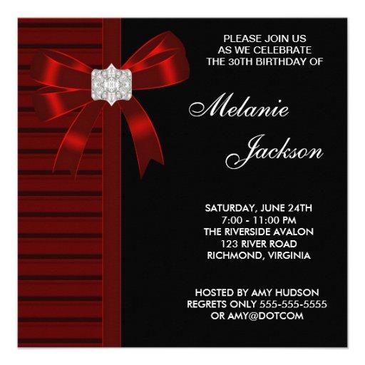 Black Red Bow Womans 30th Birthday Party 13 Cm X 13 Cm Square Invitation Card Zazzle
