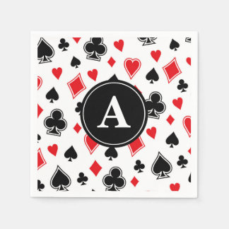 Black Red Card Game Poker Casino Monogram Disposable Napkins