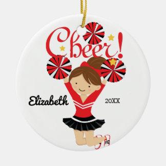 Black & Red Cheer Brunette Cheerleader Ornament