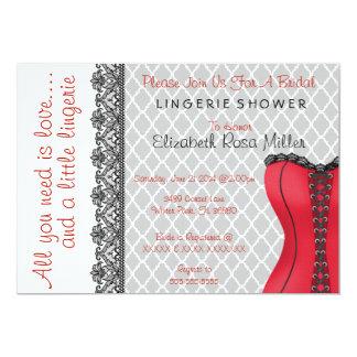 Black & Red Corset Lingerie Bridal Shower Invite