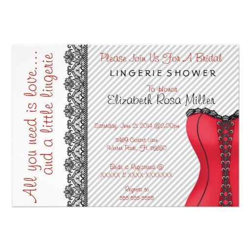 Black & Red Corset Lingerie Bridal Shower Invite Personalized Invitation