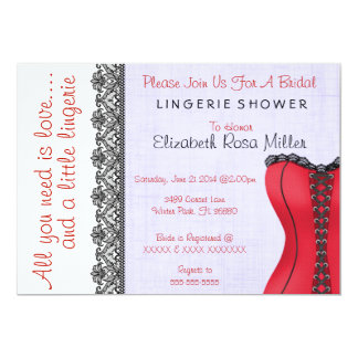 Black & Red Corset Lingerie Bridal Shower Invite Custom Invitation