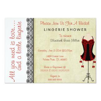 "Black & Red Corset Lingerie Bridal Shower Invite 5"" X 7"" Invitation Card"