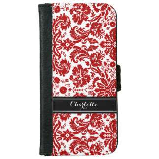 Black Red Damask Pattern Monogram iPhone 6 Wallet Case