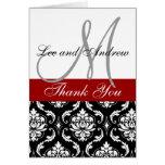 Black Red Damask Wedding Thank You Card