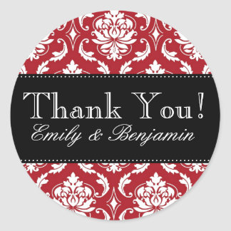 Black, Red Damask Wedding Thank You Sticker
