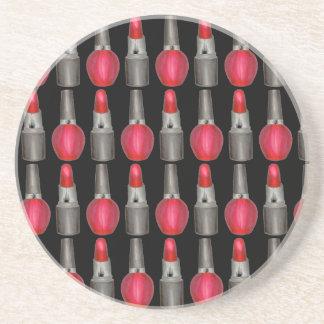 Black Red Fashionista Lipstick Nail Polish Makeup Coaster