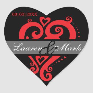 Black Red Filigree Heart Save the Date Heart Sticker