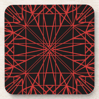 Black & Red Geometric Symmetry Coaster