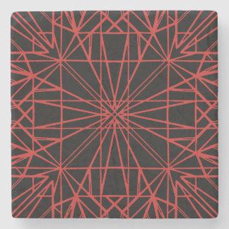 Black & Red Geometric Symmetry Stone Coaster