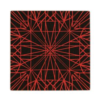 Black & Red Geometric Symmetry Wood Coaster