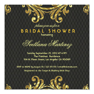 Black Red & Gold Elegant Bridal Shower Invite 2