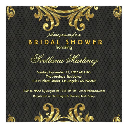 Black Red & Gold Elegant Bridal Shower Invite 2 Custom Announcements
