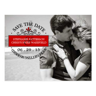 Black | Red Graphic Stamp Save The Date Postcard