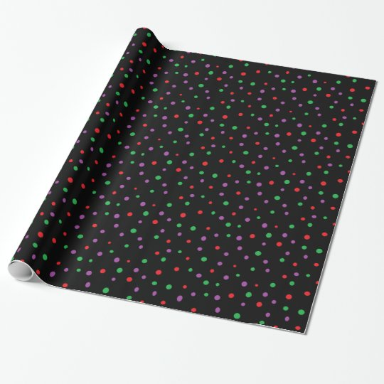 Black Red Green Purple Polka Dots  Gift Wrap