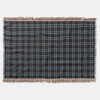 Black Red Grey Blue Small Tartan Plaid Throw Blanket