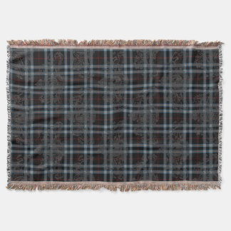 Black Red Grey Blue Tartan Plaid & Coat of Arms Throw Blanket