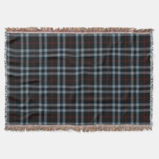 Black Red Grey Blue Tartan Plaid Throw Blanket