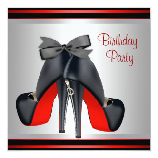 Black Red High Heel Shoes Birthday Party 13 Cm X 13 Cm Square Invitation Card
